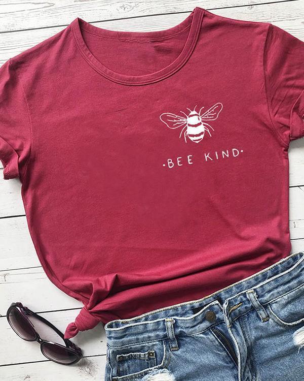 Bee Kind Pocket Print Tshirt Women Tumblr Save The Bees Graphic Tees Shirt