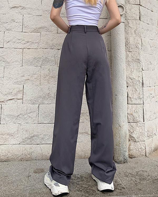 Casual Senior Gray Sexy Slim Straight Trousers Pants