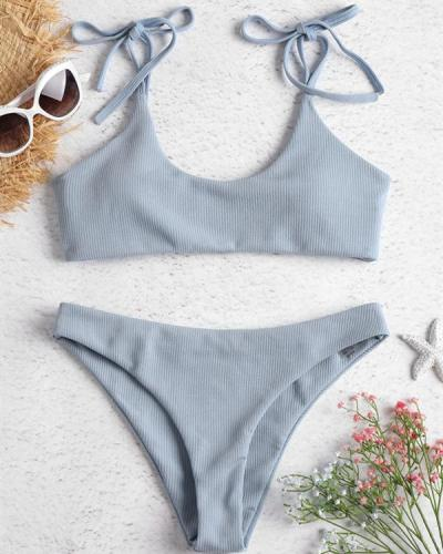 Cute Women Pure Color Lace-Up Bikini Swimsuits