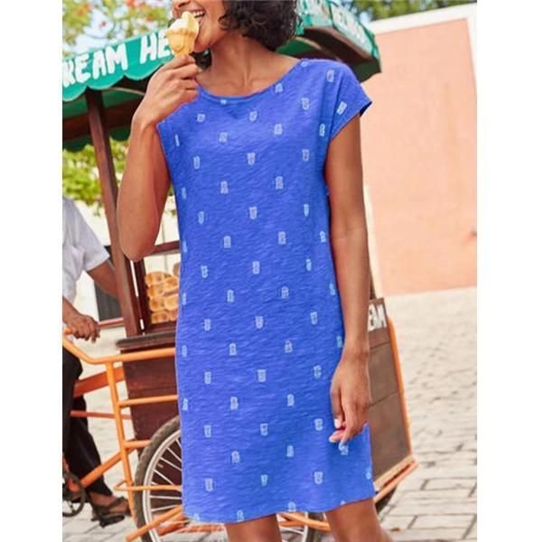 Printed Short Sleeve Summer Holiday Daily Fashion Mini Dresses
