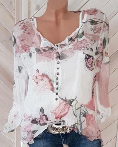 Fashionable Floral Printed V-neck Long Sleeve Blouses
