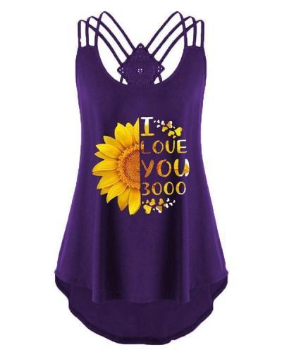 Flower Print Scoop Neck Casual Sleeveless Vest