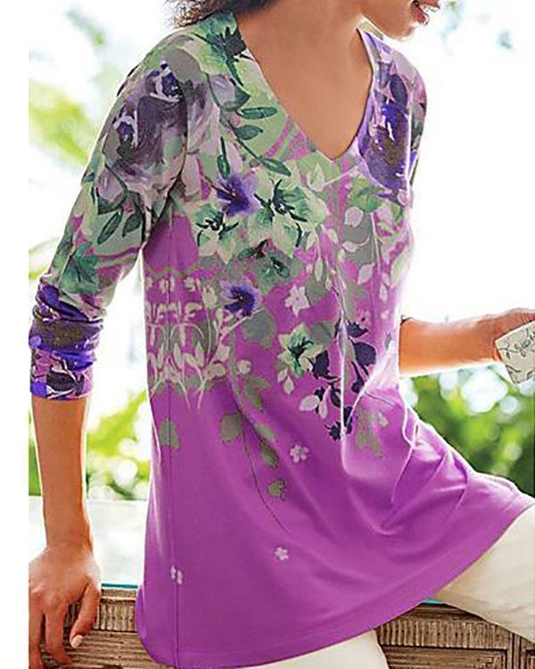 Floral Print V-neck Casual Long Sleeves T-shirts