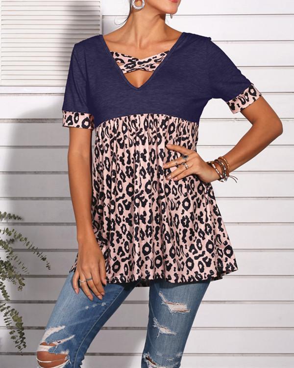 Leopard Patchwork V-Neck Tunic Tops