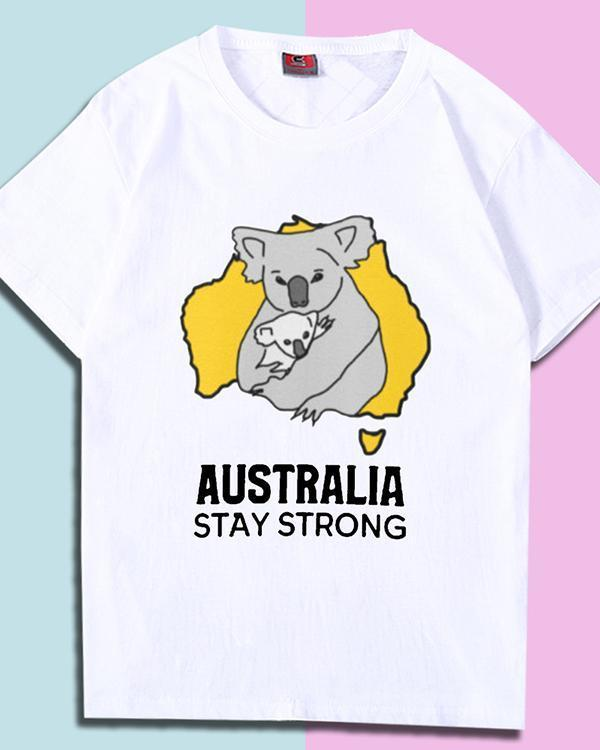 Australia Stay Strong Print T-shirt Casual Tops