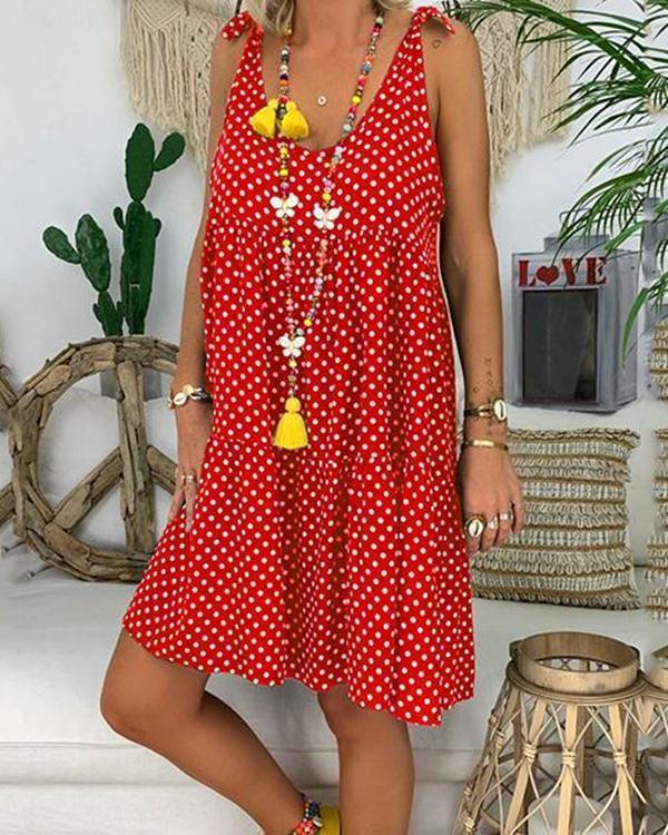 Fashion Plus Size Polka Dot Sleeveless Midi Dresses