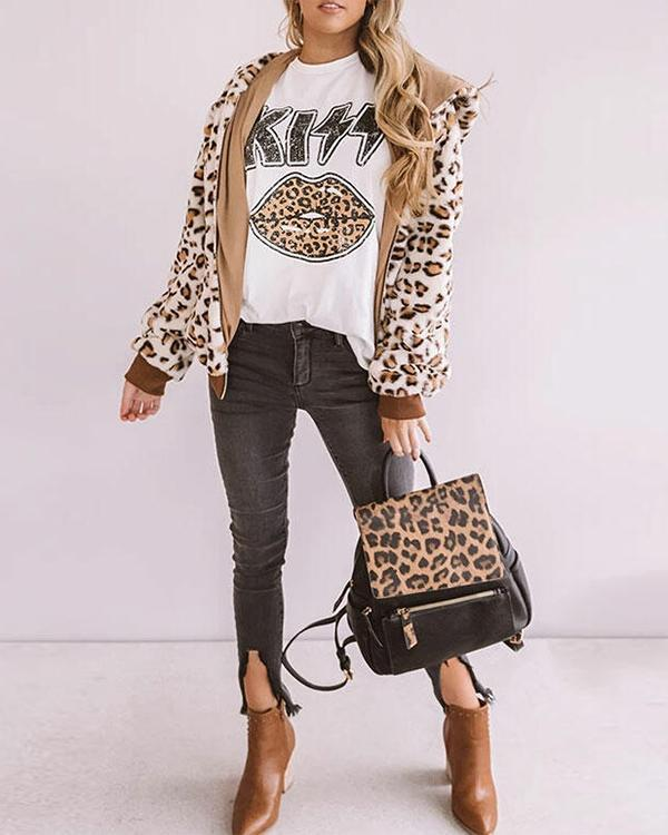 Leopard Kiss Lips T-Shirt Tee