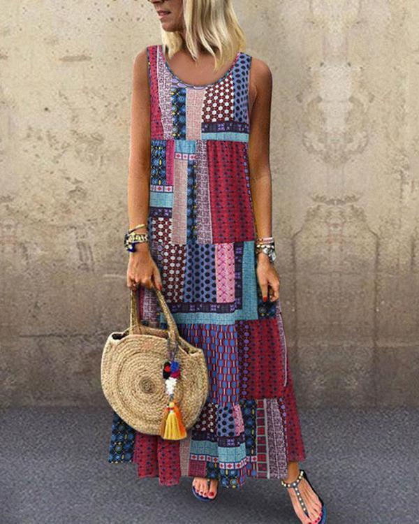 Crew Neck Women Dresses Shift Daytime Printed Patchwork Maxi Dress