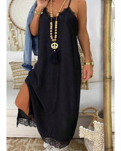 Lace Splicing Slit Spaghetti Srap Maxi Dress without Necklace - Black