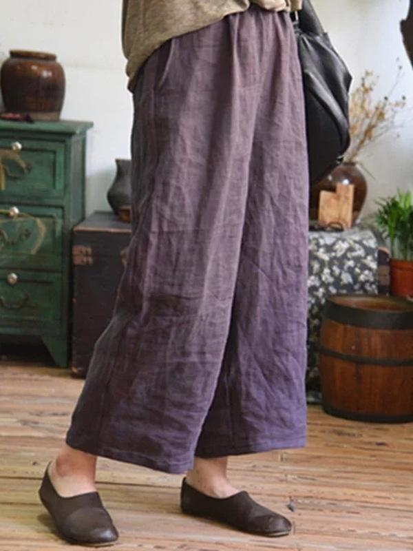 Casual Shift Cotton Plain Pockets Plus Size Pants