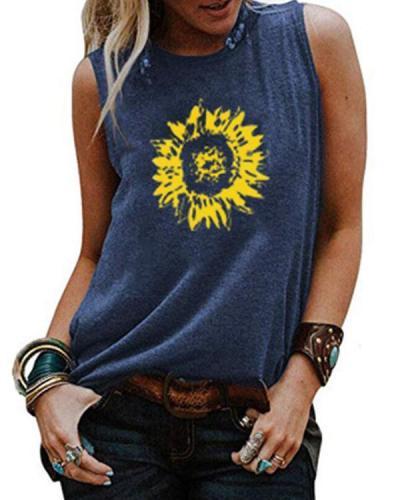 Sunflower Printed Tank Shirt