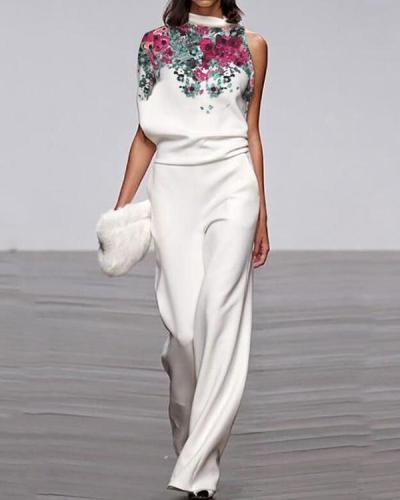Fashion Round Neck Sleeveless Printed Loose Jumpsuit