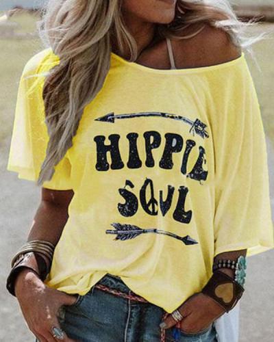 Plus Size Letter Print Crew Neck Women Summer T-shirts