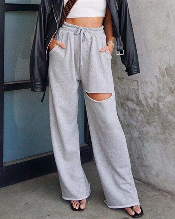 Personalized Ripped Drape High Waist Slim Thin Straight Pants