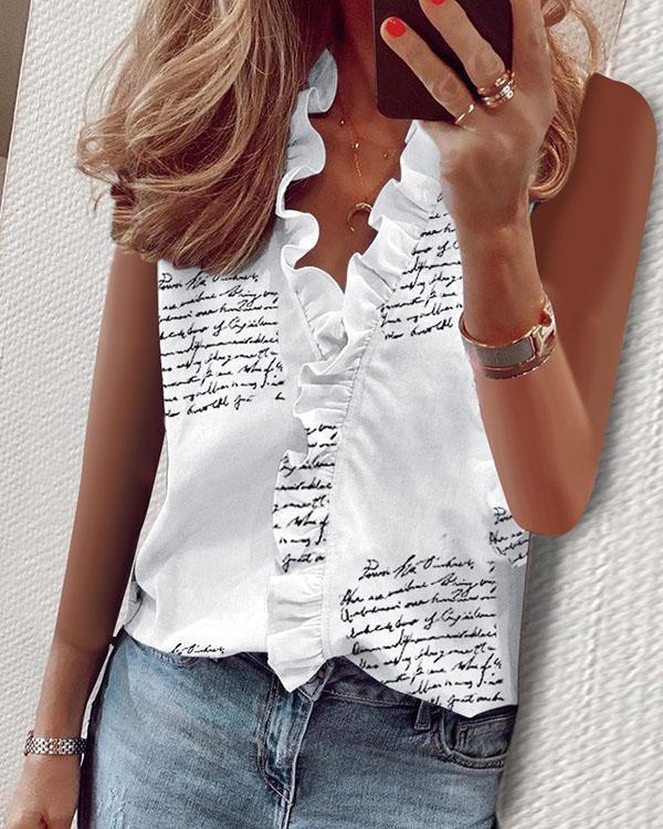 Casual Ruffled V-neck T-shirt Sleeveless Printed Tops