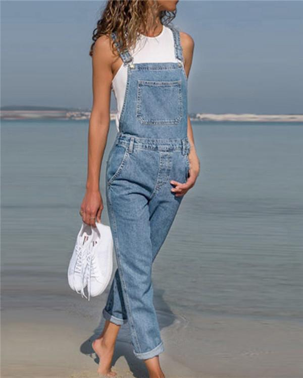 Belted Hole Hollow Out Pocket Casual Fashion Denim Overalls Jumpsuit