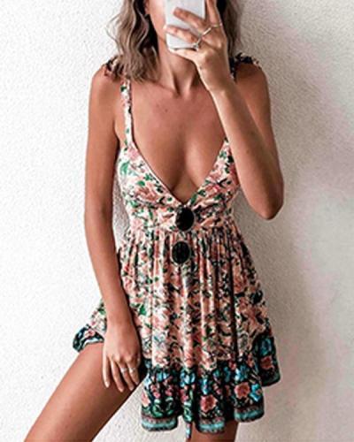 Floral Deep V Neck Slip Mini Dress