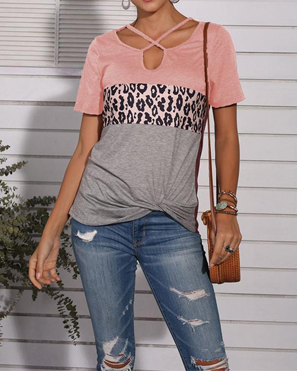 Leopard Print Cross Neck Twisted T-Shirt