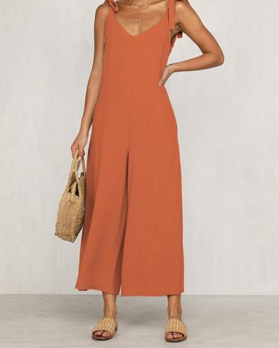 Fashion Halter Sleeveless Wide Leg Jumpsuit