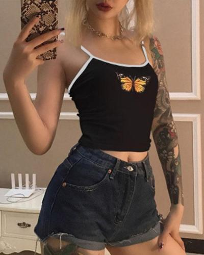 Cute Butterfly Printing Cotton Tank Tops Street Casual Tees
