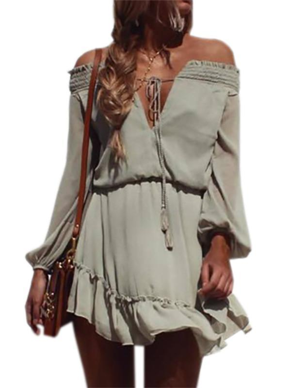 Off Shoulder Long Sleeve Beach Dress