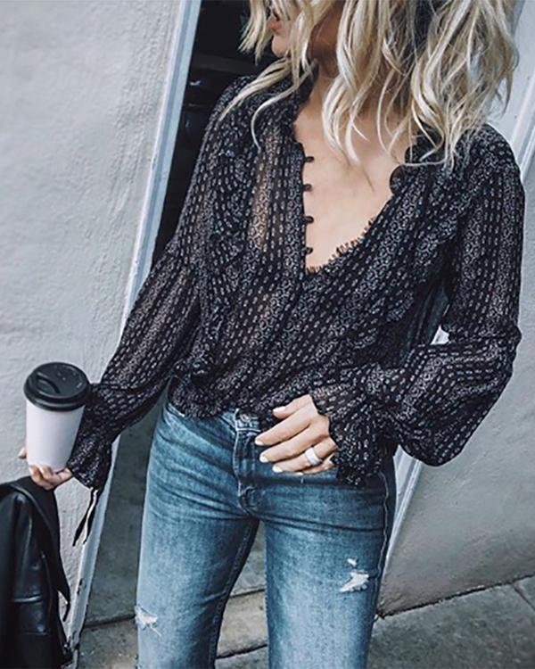 Fashion V Neck Long Sleeve Printed Elegant T-Shirt Top