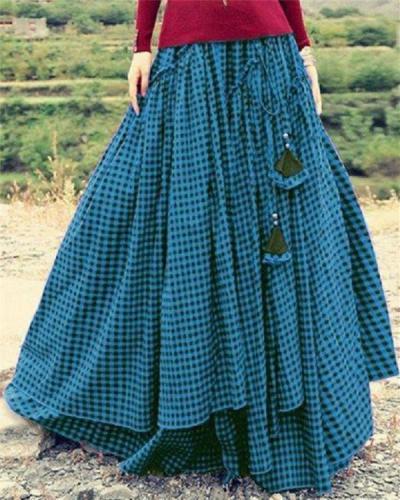 Plaid Swing Vintage Floor-Length Skirts
