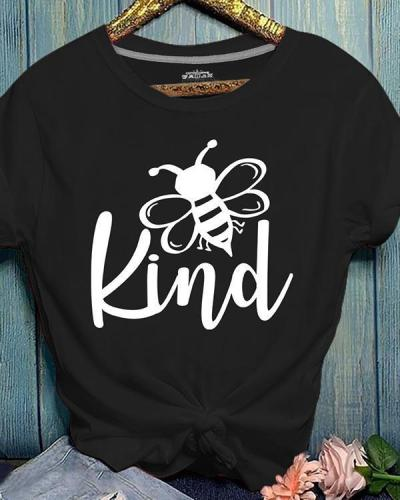 Bee Print Crew Neck Summer Short Sleeve T-shirt
