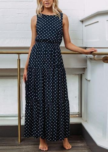 Fashion Polka Dot Button Women's Dress Maxi Dress