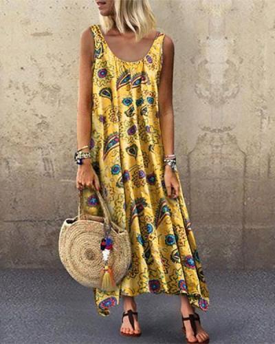 Printed Sleeveless Loose Round Collar Dress