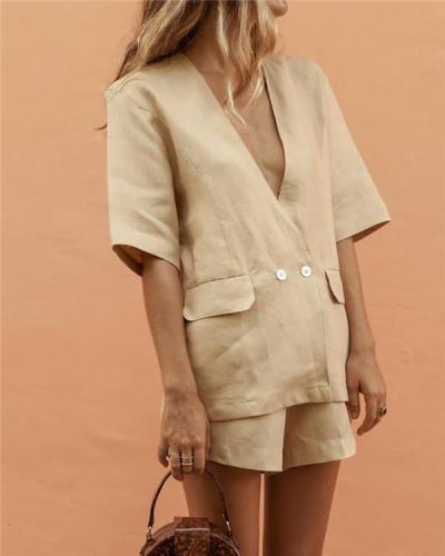 Linen Refreshing Suit Jacket Shorts Suit