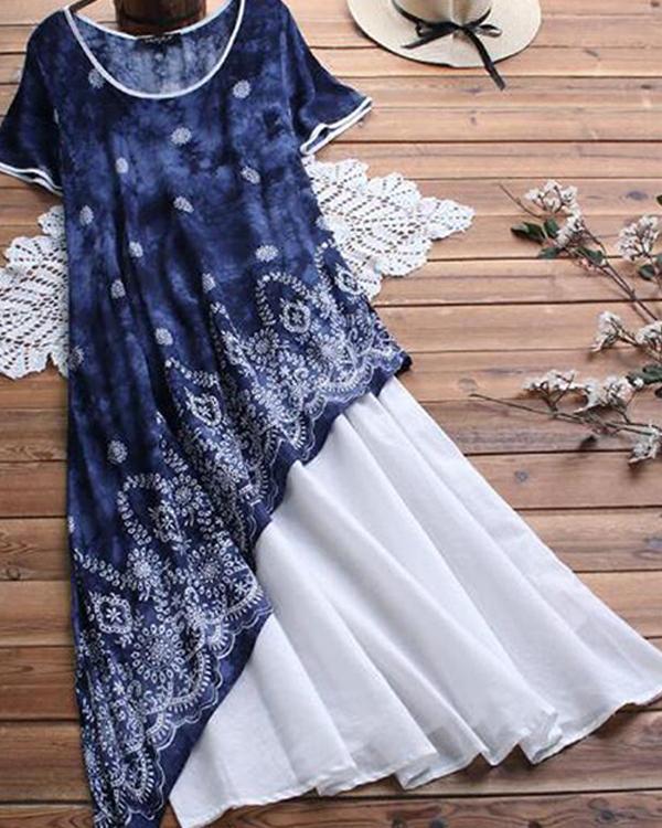Paneled Floral Print Irregular Casual Maxi Dress