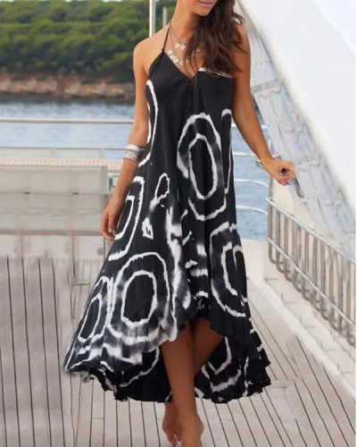 Asymmetry Floral V-Neck Maxi Dress