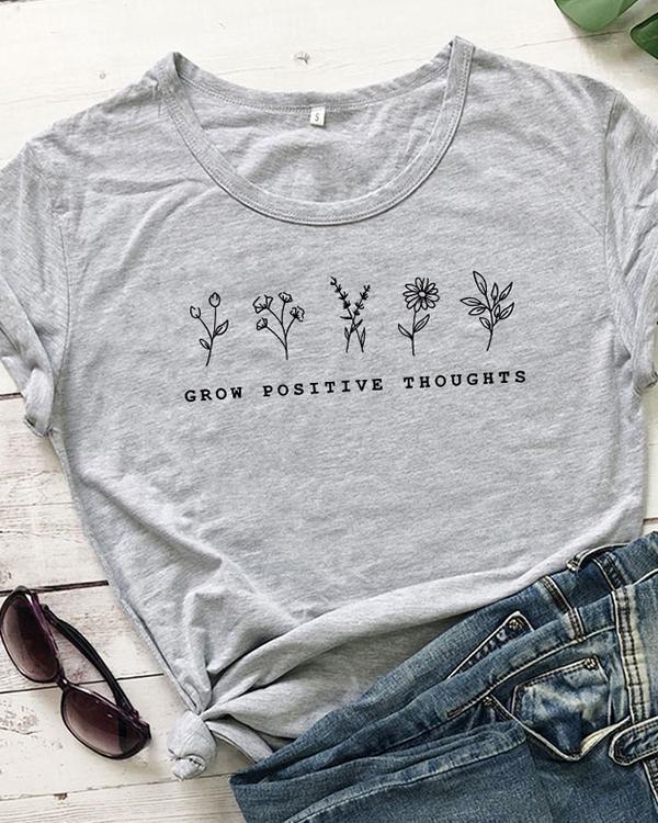 Women Floral Print Tshirt Summer Inspired Slogan Graphic Boho Tee Top Mental Health Shirt