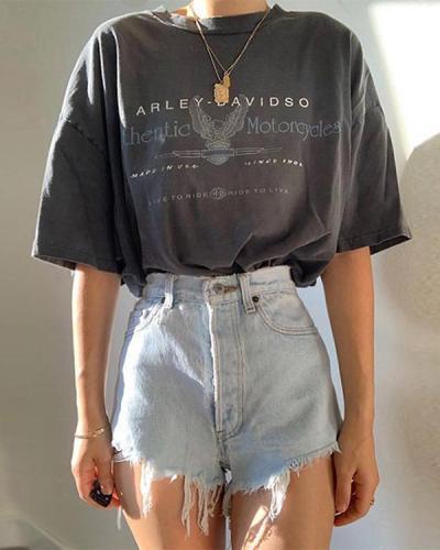 Women's Print Fashion Casual Short Sleeve T-Shirt