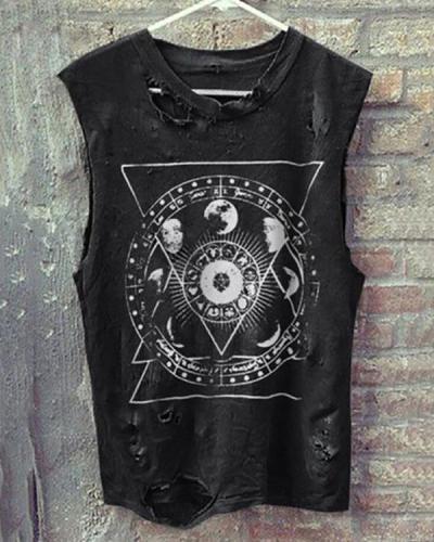 Vintage Round Neck Sleeveless Broken Holes T-Shirt