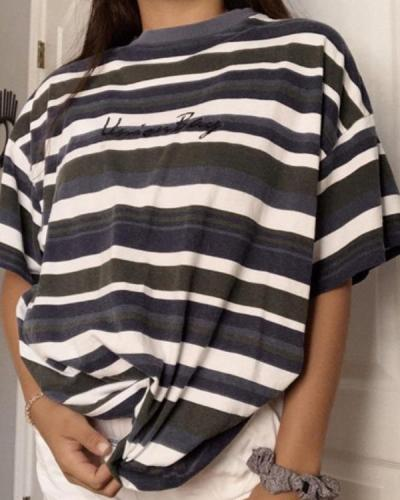 Casual Loose Striped Short Sleeve T-Shirt