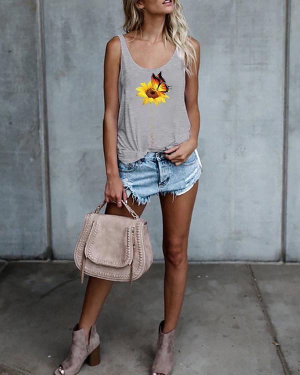 Floral Print Tank Tops Sleeveless Vest T-shirt