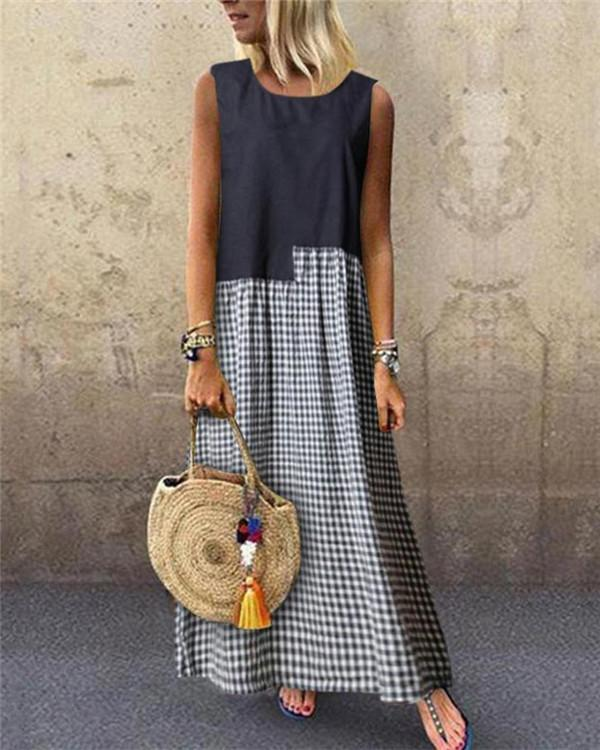 Fashion Crew Neck Sleeveless Patchwork Maxi Dress