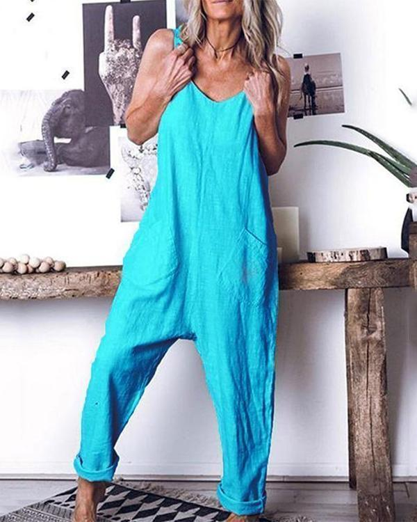 Leisure Pure Color High Waist Sleeveless Jumpsuits