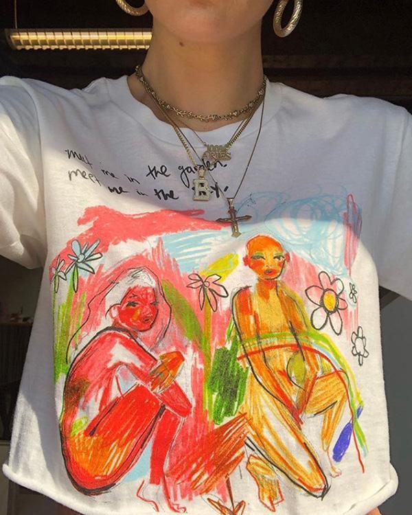 Casual Short Sleeve Graffiti Loose Pullover T-Shirt