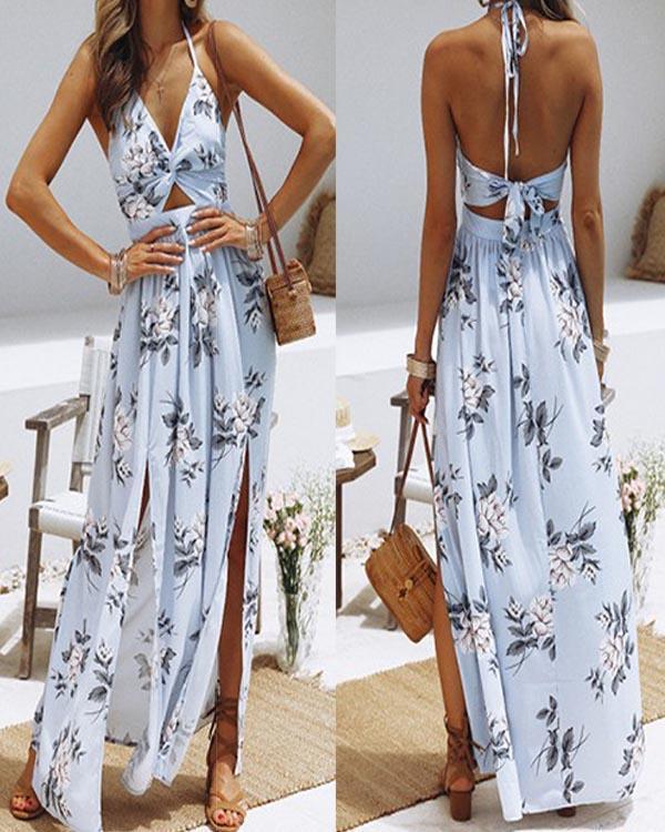 Cutout Front Halter Tie Floral Maxi Cocktail Dress