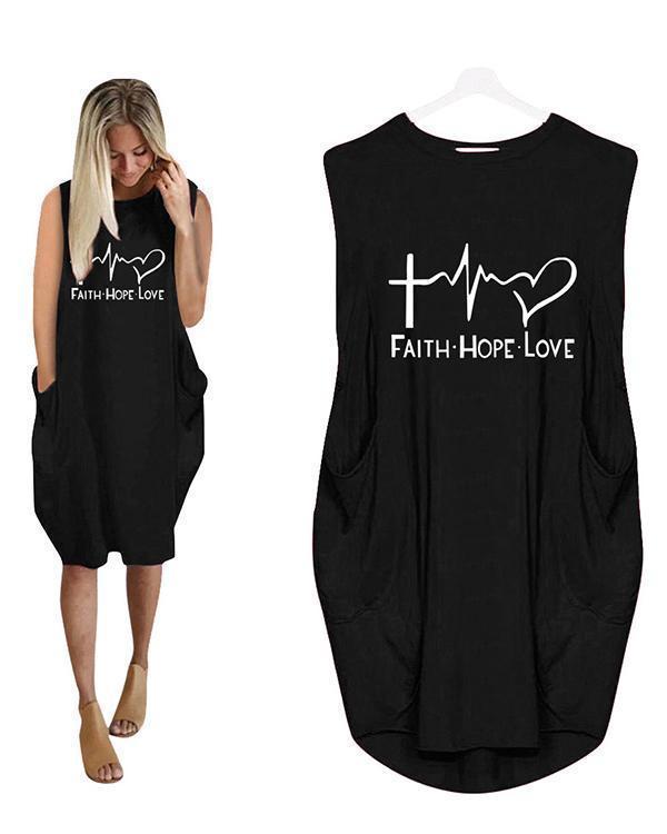Printing Long Sleeved Irregular Women's Sleeveless Midi Dress