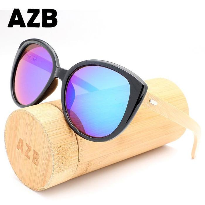 Fashion Wild Unisex Bamboo Frame Sun Glasses
