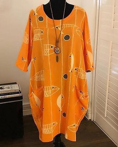 Plus Size Fish Print Shift Daily Women Summer Dresses
