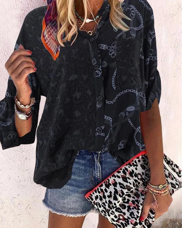 Fashion Stand Collar Leopard Printed Blouses
