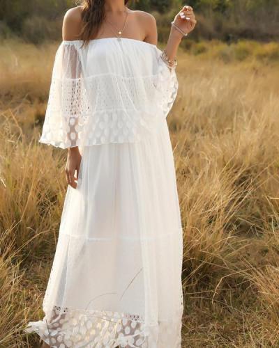 Bohemia Solid Lace Off Shoulder Maxi Dress