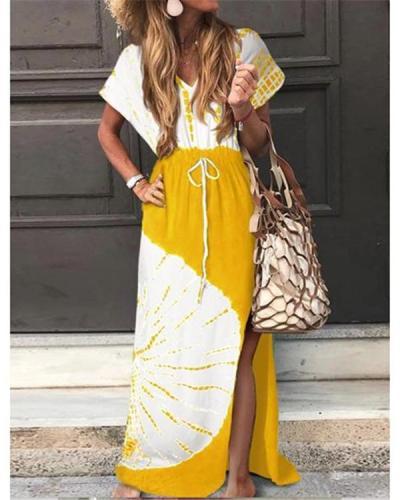 Daily V Neck Women Summer Shift Slit Dresses