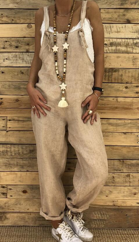 2019 Fashion Women Casual Solid Color Pocket Loose Overalls Street Style Jumpsuits