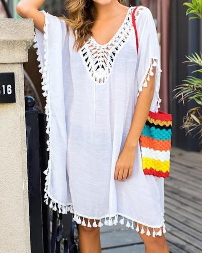 Plus Size Cover-Ups Polyester Natural Waist Solid Plus Swimwear